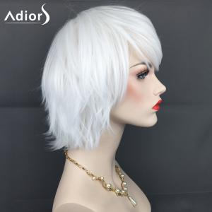 Adiors Short Inclined Bang Layered Straight Synthetic Wig - WHITE