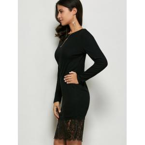 Lace Panel Long Sleeve Pullover Dress - BLACK M
