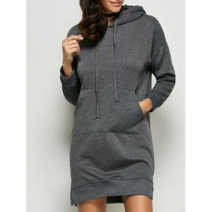 Pocket Slit Hooded Dress