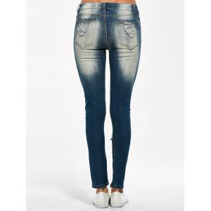 Skinny Distressed Jeans - PURPLISH BLUE L