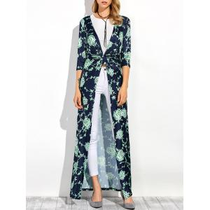 Three Quarter Sleeves Longline Floral Print Duster Coat