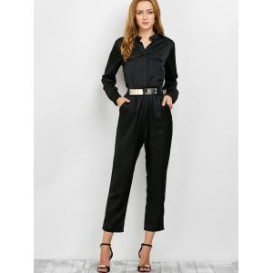 Long Sleeve Shirt Jumpsuit - BLACK XL