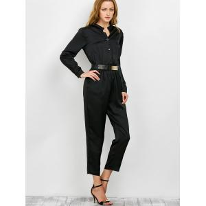 Long Sleeve Shirt Jumpsuit -