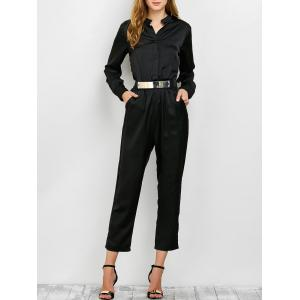 Long Sleeve Shirt Jumpsuit - Black - S