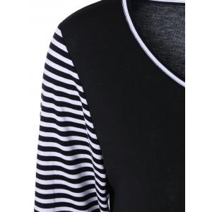 Pockets Design Striped Trim T-Shirt - WHITE AND BLACK XL