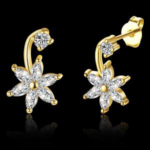Rhinestone Floral Earrings -