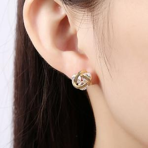 Rhinestone Flower Shape Earrings -