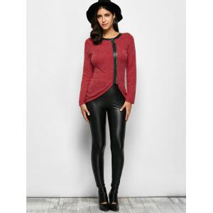 Faux Leather Trim Zipper Decorated T-Shirt -