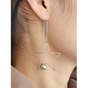 Asymmetric Star Beads Earrings - SILVER AND GOLDEN