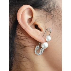ONE PIECE Rhinestone Faux Pearl Pin Earring - Silver