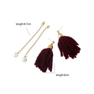 Artificial Pearl Rhinestone Tassel Earrings -