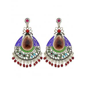 Rhinestone Artificial Gem Flower Teardrop Earrings