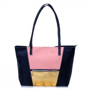 Zip PU Leather Colour Block Shopper Bag