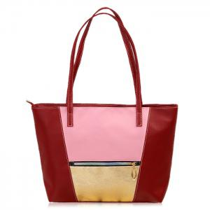 Zip PU Leather Colour Block Shopper Bag - Burgundy - 42