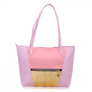 Zip PU Leather Colour Block Shopper Bag - Light Purple - 38