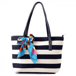 Colour Block Stripe Canvas Beach Bag - Black