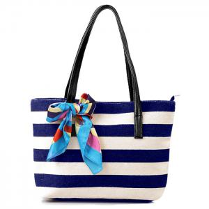 Colour Block Stripe Canvas Beach Bag - Deep Blue - 39