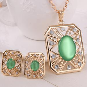 Rhinestone Artificial Opal Necklace and Earrings - GREEN