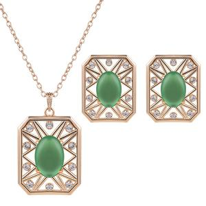 Rhinestone Artificial Opal Necklace and Earrings