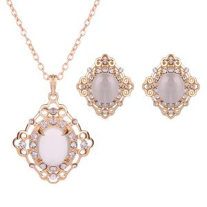 Rhinestone Artificial Gemstone Necklace and Earrings - White
