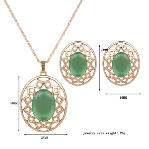 Artificial Gemstone Oval Necklace and Earrings - GREEN