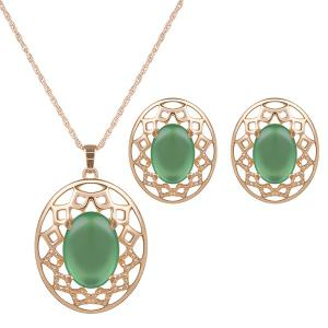 Artificial Gemstone Oval Necklace and Earrings - Green - 6