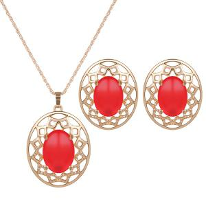 Artificial Gemstone Oval Necklace and Earrings - Red - W16 Inch * L24 Inch