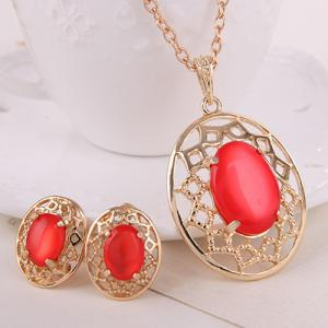 Artificial Gemstone Oval Necklace and Earrings - RED