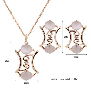 Faux Gem Pendant Necklace and Earrings -