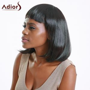 Boutique Medium Straight Full Bang Black Women's Synthetic Hair Wig - BLACK