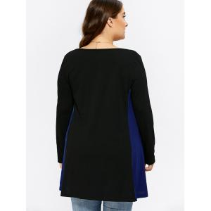 Plus Size Patchwork Long Sleeve Tee -
