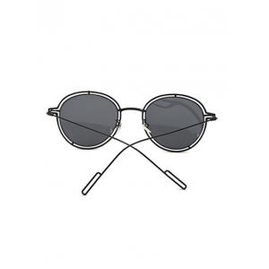 Hollow Out Double Rims Metal Oval Sunglasses - BLACK
