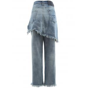 Frayed Ripped Skirted Jeans -