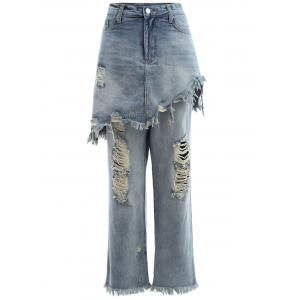 Frayed Ripped Skirted Jeans