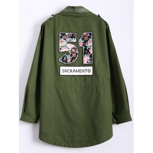 Number Patch Plus Size Trench Coat - ARMY GREEN 4XL