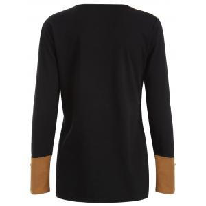Plus Size Panel T-Shirt with Buttons - LIGHT COFFEE L
