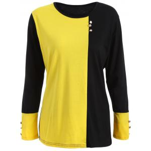 Plus Size Panel T-Shirt with Buttons - Yellow And Black - L