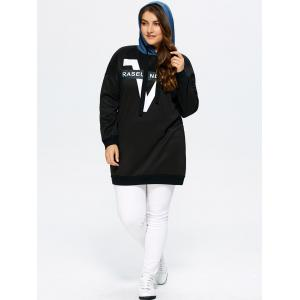 Drop Shoulder Plus Size Chevron Tunic Hoodie -