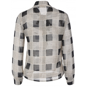 Bow Tie Collar Checkered Print Shirt -