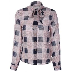Bow Tie Collar Checkered Print Shirt - Purplish Blue - M