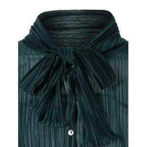 Bow Tie Collar Flare Sleeve Pleated Blouse - BLACKISH GREEN ONE SIZE
