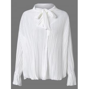 Bow Tie Collar Flare Sleeve Pleated Blouse - White - One Size