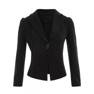 Lapel Button Up Blazer - Black - M