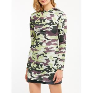 Camouflage Print Long Sleeve Hooded Tunic Dress