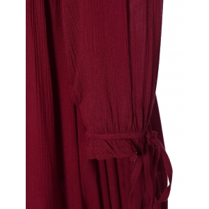 Lace Up Ruffles Empire Waist Maxi Dress - WINE RED L