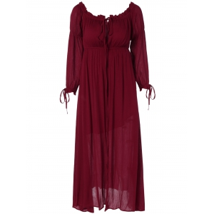 Lace Up Ruffles Empire Waist Maxi Dress