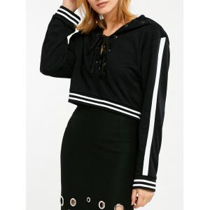 Contrast Trim Criss Cross Crop Hoodie - Black - S