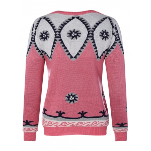 Round Neck Geometric Pattern Sweater - PINK ONE SIZE