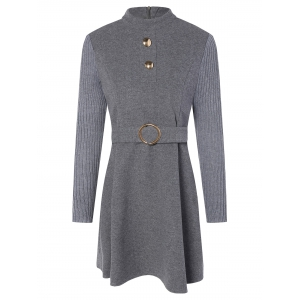 Stand Neck Wool Blend A Line Dress - Gray - M