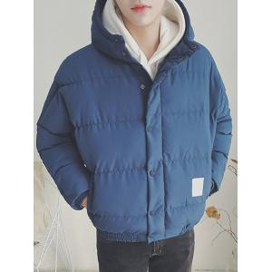Zip Up Patch Design Hooded Puffer Jacket -